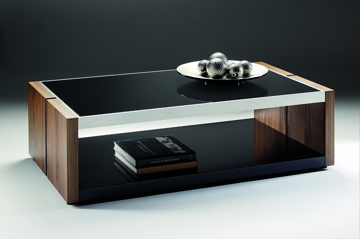 Manhattan Coffee Table - black glass tops striking american walnut veneers with attractive brushed aluminium surround