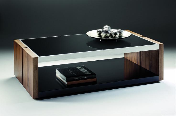 Manhattan Coffee Table - black glass tops striking american walnut veneers with attractive brushed aluminium surround