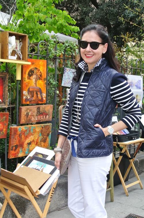 April 17, 2013 http://www.akeytothearmoire.com/post/48195130940/anchors-away #nautical #navy blue #white #white jeans #bow belt #ribbon belt #velvet #quilted vest #gilet #stripes #metallic #Ralph Lauren #Elliott Lucca #Banana Republic #Thomas Charlie #gingham #anchor #Madrid #chic #casual #feminine #preppy #Vaneli #vacation