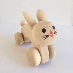 Wooden Push Along Rabbit #pushalongrabbit #bunny #rabbit #woodendecor #woodentoy #oliverthomas #kidsroom #nursery