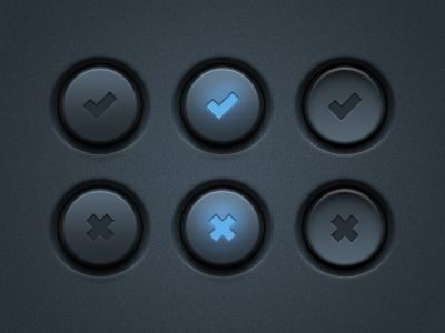 Grab the PSD here: http://www.icondeposit.com/design:12    These are some more tick and cross Vector UI buttons for everyone. Everything is 100% vector, so you can re-scale these buttons to any size if needed. It also includes a Photoshop PSD like always.