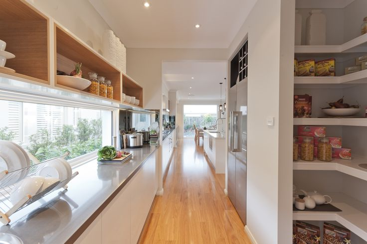 A Butler's Pantry with a view! This Pacific pantry makes cooking a pleasure every time. Read more about this design at http://www.mcdonaldjoneshomes.com.au/home-designs/queensland/pacific #butlerspantry #butlerspantryideas #butlerspantryideaslayout #butlerspantriesmodern #kitchen #gourmetkitchen #storage #kitchenstorage #style #interiordesign #home #newhome  #displayhome #displayhomes #mcdonaldjoneshomes