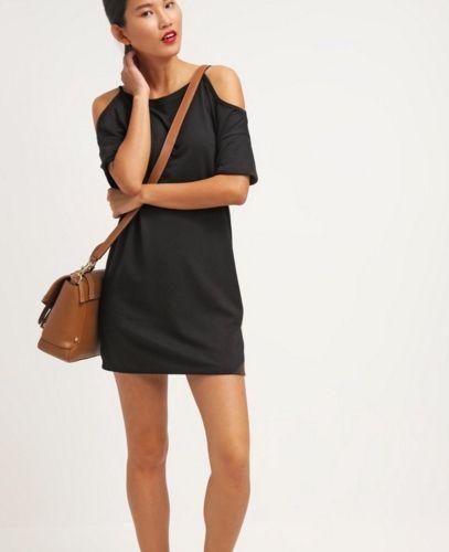 Topshop Sukienka czarna off-shoulder odkryte ramiona black