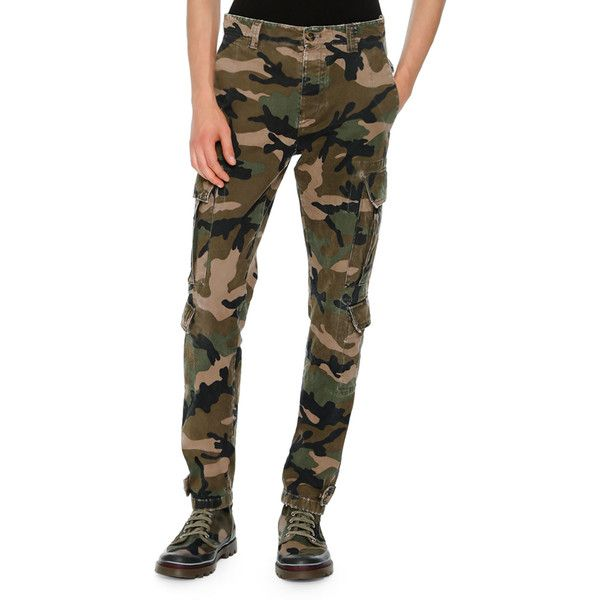 Valentino Camouflage Twill Cargo Pants (1 675 AUD) ❤ liked on Polyvore featuring men's fashion, men's clothing, men's pants, men's casual pants, green, mens camo pants, mens cuffed pants, mens zipper pants, mens slim fit pants and mens green pants