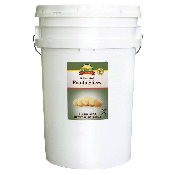 Augason farms dehydrated potato slices 10lb pail bucket