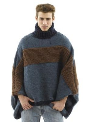 Oversized #Poncho for #Men! Isn't it great? and it's free too!!! #Lion Brand Yarn