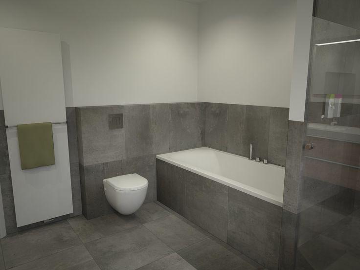 Deze badkamer Roosendaal is praktisch en van alle gemakken voorzien, mooie betonlook tegels tot 120cm hoogte. Een badkamermeubel van 150cm breed van Assenti met spiegel en hoge kast. De kranen bij het bad, douche en wastafel zijn ingebouwd in de muur. Een grote doucheruimte met regendouche en maatwerk douchewand met weinig profielen voor makkelijk onderhoud. …