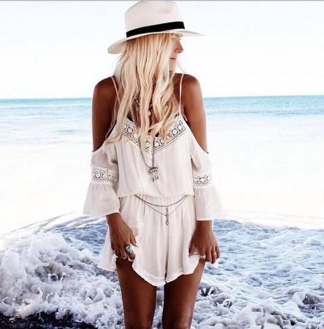 Jumpsuit Womens Rompers Playsuit Shoulder Off Spaghetti V-neck Deep Short White Loose Summer