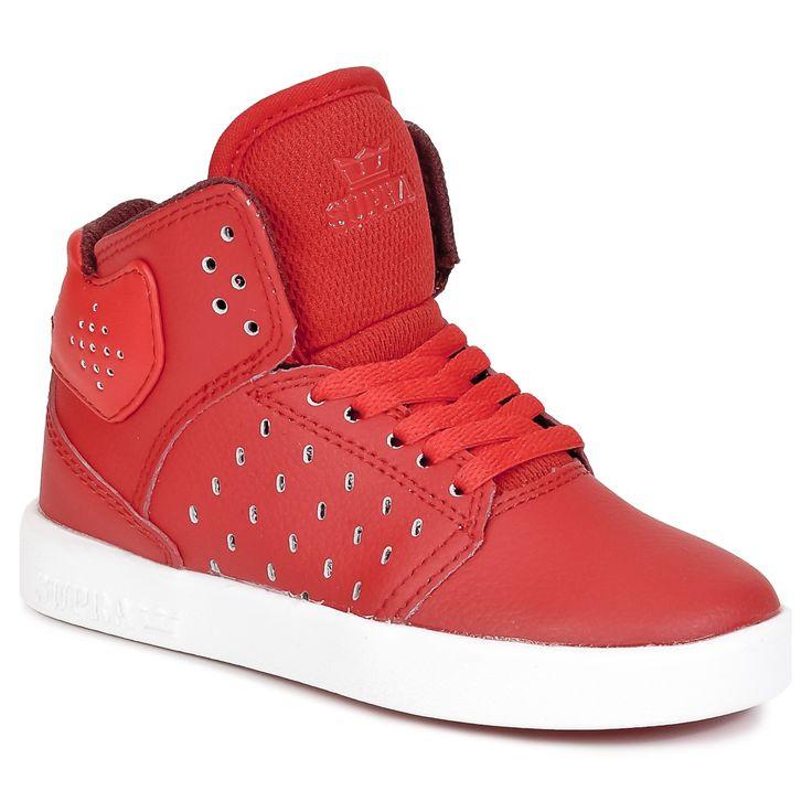 Kreiert von der Marke Supra, hohe Sneaker Mode und Komfort ATOM Rot / Weiss #Kinderschuhe Preis 47.99 €