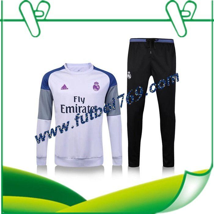 Tiendas De Sudaderas Del Real Madrid Blanco + Pantalones Negro 2016 2017 Conjunto Oficial