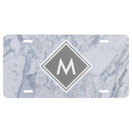 Marble Pattern Monogram License Plate - monogram gifts unique design style monogrammed diy cyo customize