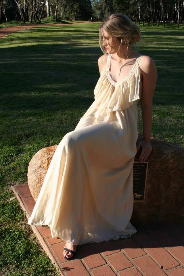Lisa Brown - Poppy - Bra Back - Rosa - Sea Pearl - 100% Silk - Wedding Dress - Bridesmaid Dress - Formal Dress - Evening Dress - Graduation Dress - Frill - Braid - Lace - Australian Designer $680.00