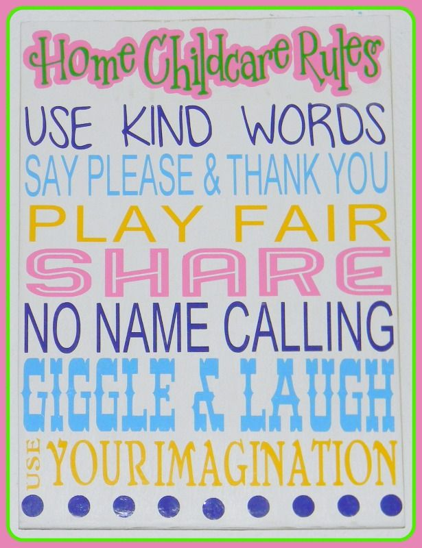 Home Child Care and Home Day Care rules sign. Please see more at www.facebook.com/sassyfrassycrafty Thank you!