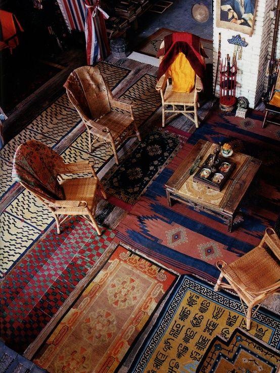 Boho Decor Bliss ⍕⋼ Bright Gypsy Color U0026 Hippie Bohemian Mixed Pattern Home  Decorating Ideas   Layering Rugs