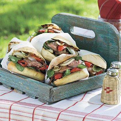 Flank Steak Sandwiches With Blue Cheese
