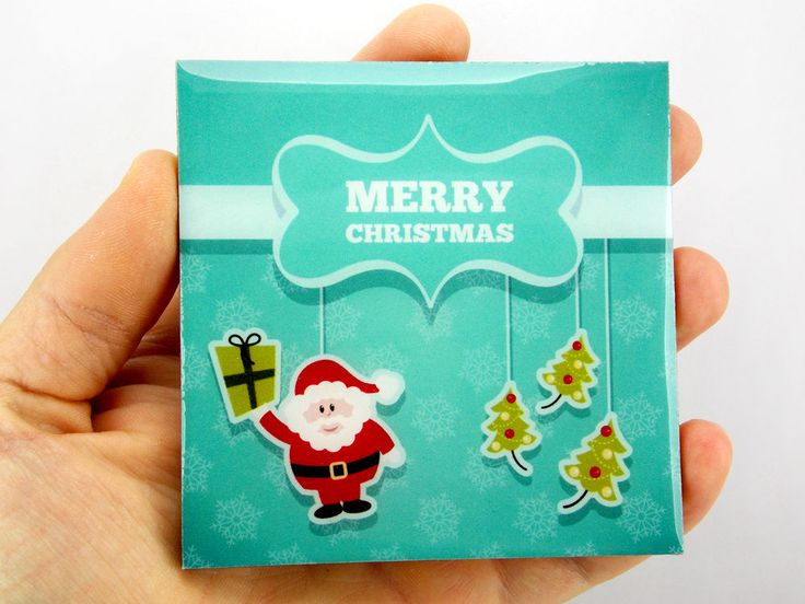 Merry Christmas Santa Claus Green Gift Box Drink Coaster Unique Gift Wood Osarix