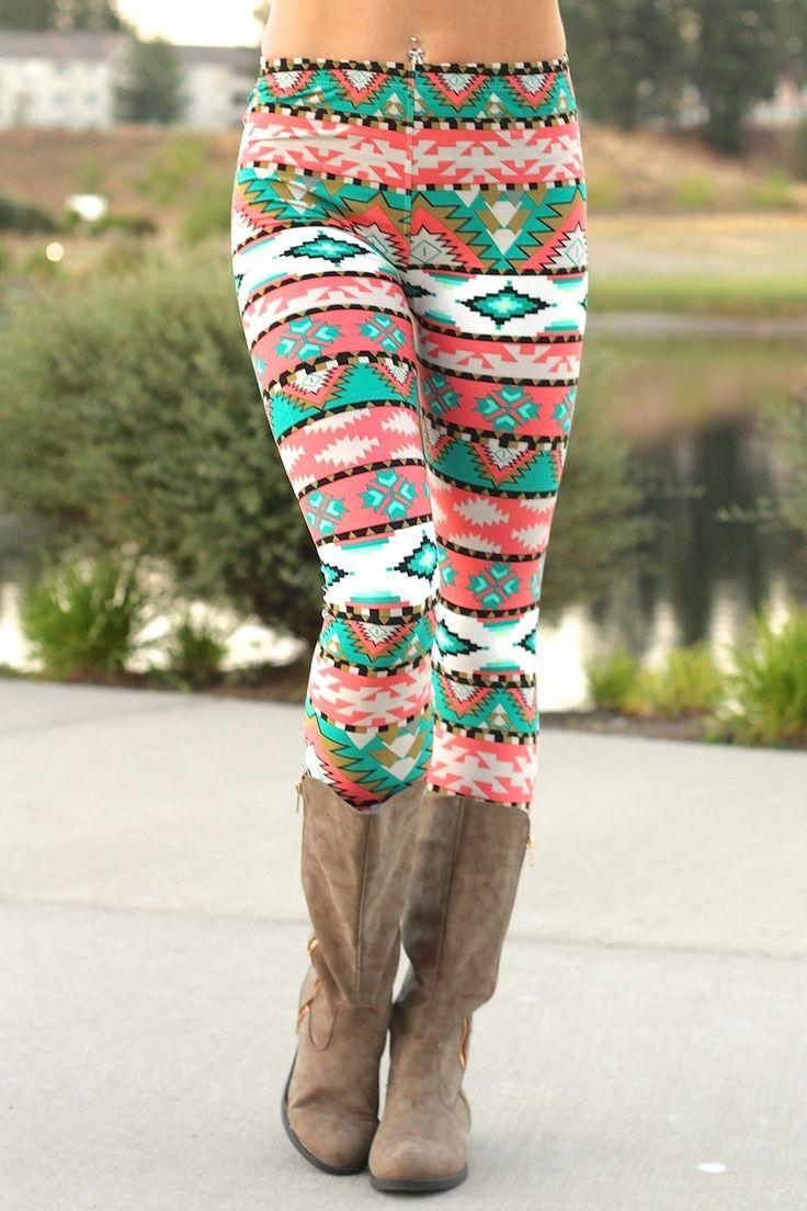 NanaMacs Boutique - Navajo Aztec Print Leggings (CORAL), $17.00 (http://www.nanamacs.com/navajo-aztec-print-leggings-coral/)