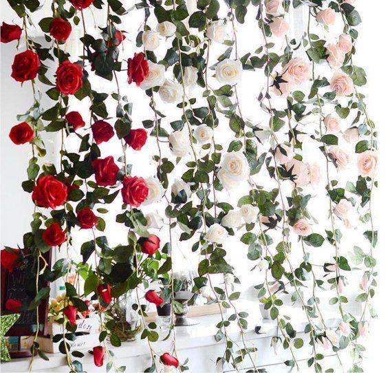 8Ft Artificial Rose Garland Silk Flower Vine Ivy Wedding Garden String Decor Bu