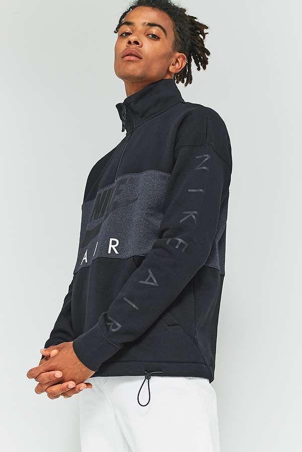 Slide View: 1: Nike Sportswear Black 1/2 Zip Fleece Jacket