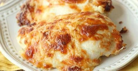 Ingredients: 4-6 Boneless Skinless Chicken Breast 6-8 Slices Swiss Cheese (Mozzarella works too) ½ cup mayonnaise ½ cup sour cream ¾ cup grated Parmesan Cheese (divided) ½ tsp. salt ½ tsp. pepper 1 tsp. garlic powder DIRECTIONS: Preheat oven to 375. Pat chicken dry and place in a greased 9×13 pan. Add sliced cheese on top of chicken breasts. In a bowl mix mayonnaise, sour cream, ½ cup Parmesan cheese, salt, pepper and garlic powder. Spread this over chicken and sprinkle with remaining…