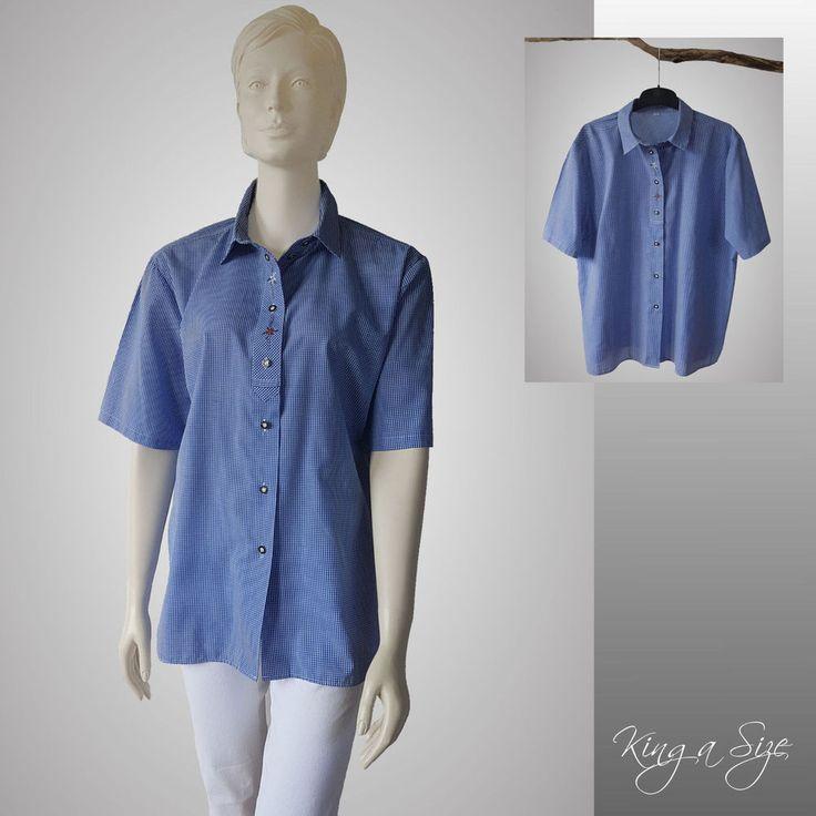 Trachten - Bluse Hemdbluse Karobluse Hemd 1/2-Arm 100% Baumwolle Gr.46