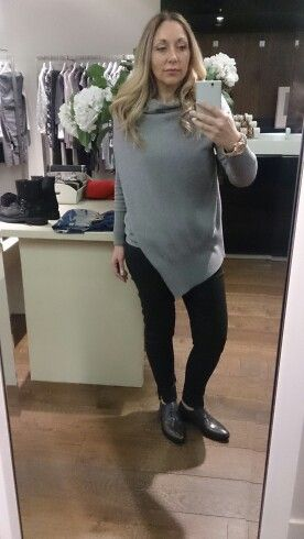 European Culture grey sweater, selected femme wax jeans, bruno premi grey brogues, cosy and stylish winter look! Venezuela Boutique Mullingar!
