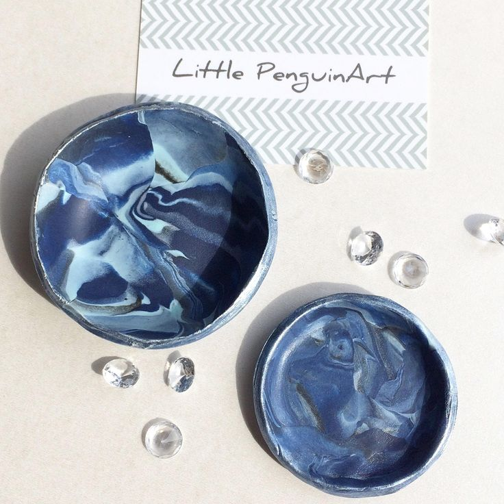 Clay Ring Dish pair,Jewellery storage,handmade,personalised gift box,marbled,birthday,teacher,Gifts for her,Gifts for Mum,wedding gift, blue by LittlePenguinArtEtsy on Etsy