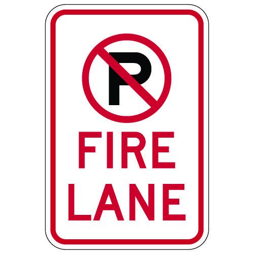 No Parking Symbol Fire Lane Signs - 12x18