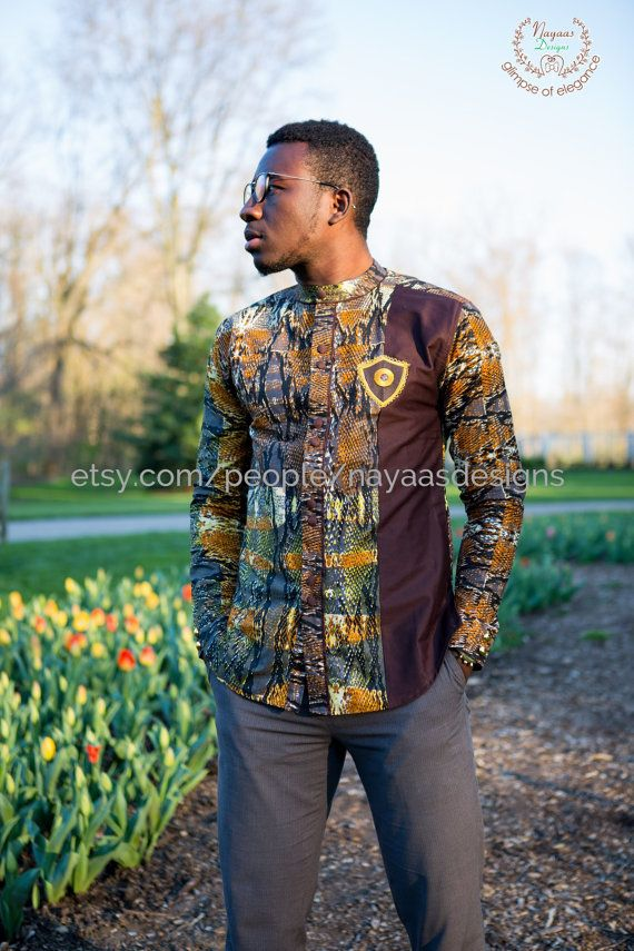 Brown multicolored African men's long sleeve; African clothing; men's fashion; African Print Men's wear; African; shirt  Ask a question $65.00
