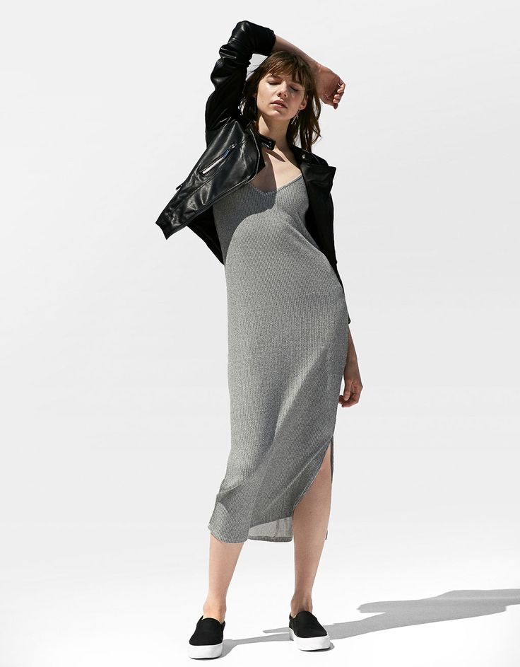 Bershka Spain - Canalé ankle-grazer dress