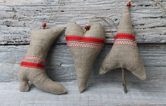 Rustic Ornaments Handmade christmas hanging Cottage chic home decor 3 pieces