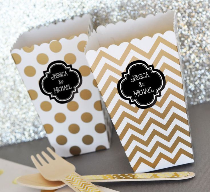 Black and Gold Bridal Shower Favor Boxes - Black and Gold Birthday Party Decor Popcorn Boxes Candy Buffet Box Chevron & Dot (EB4008P) 24 pcs by ModParty on Etsy https://www.etsy.com/listing/217301856/black-and-gold-bridal-shower-favor-boxes