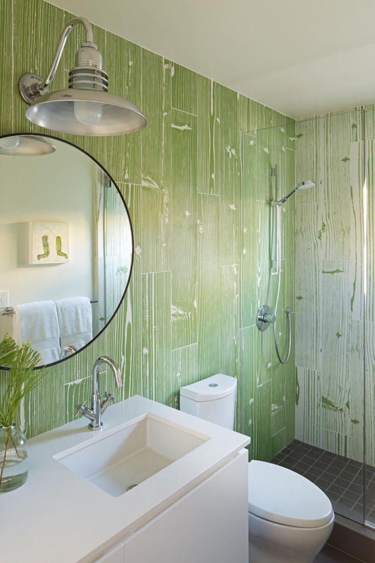 Grayson silver gray jacquard fabric cloth bathroom bath shower curtain - This Beachside House Has A Fun Vibe That Continues Into The Guest Bath A Faux