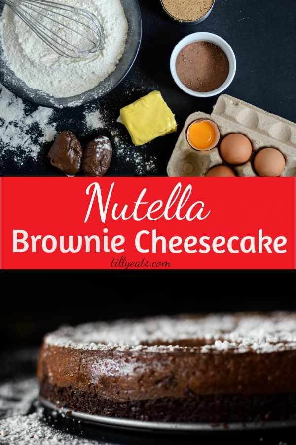 Are you more of a corner or middle brownie person? Either way, this Nutella Brownie Cheesecake will make you very happy, with both corner and middle parts in the same slice.    #nutella #cheesecake #brownies