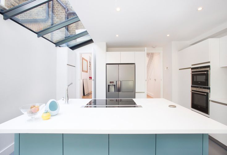 Side Return Extension on a Victorian Terraced House in Highbury, N5, Greater London, Sliding Glass Patio Doors, Glass Flat Roof, Flat Roof, Structural Glazed Roof, Wraparound Extension, Kitchen Extension Design Ideas, Kitchen Island, Kitchen Triangle Layout