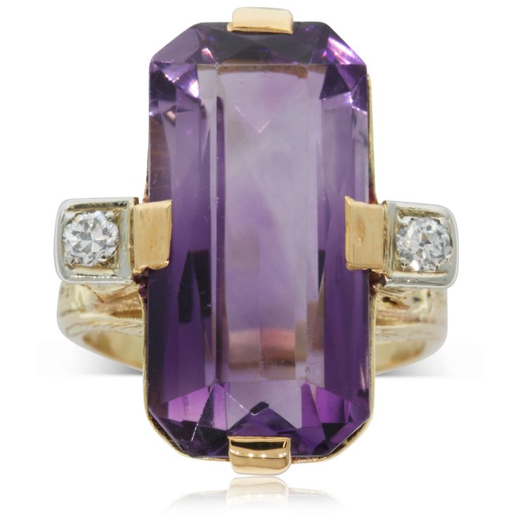 Vintage 9ct yellow gold amethyst and diamond ring
