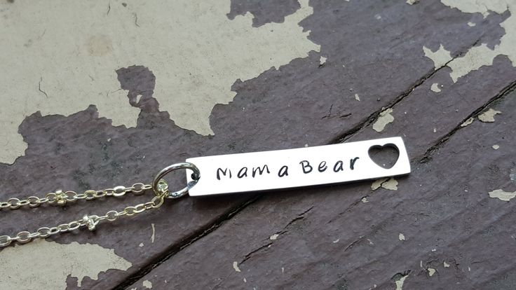 Mama bear necklace with heart cutout gift for mom jewelry birthday gift for mom push present new mom gift bar necklace by TiffysLove on Etsy https://www.etsy.com/listing/450461090/mama-bear-necklace-with-heart-cutout