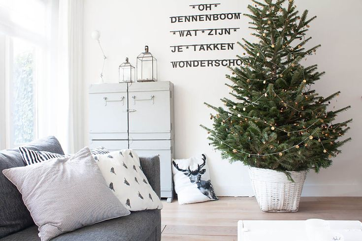 artificial-christmas-tree-stand-Dining-Room-Scandinavian-with ...