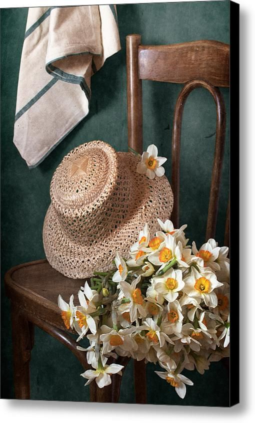 $74.96 Canvas Print: http://nikolay-panov.artistwebsites.com/products/straw-hat-and-bouquet-of-narcissus-flowers-nikolay-panov-canvas-print.html Floral still life with bouquet of narcissus flowers and straw hat laying in vintage old chair in countryside in spring time