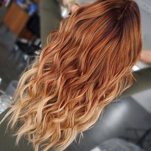 Red Balayage On Dark Brown Hair