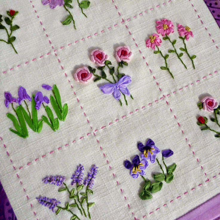 Flores bordadas con cinta por Jane Lightfoot .     Ribbon embroideries flowers by Jane Lightfoot .           Divertido amigurumi sujeta p...
