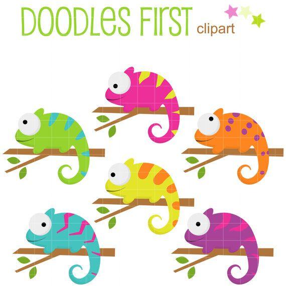 Kleurrijke kameleons digitale illustraties voor door DoodlesFirst
