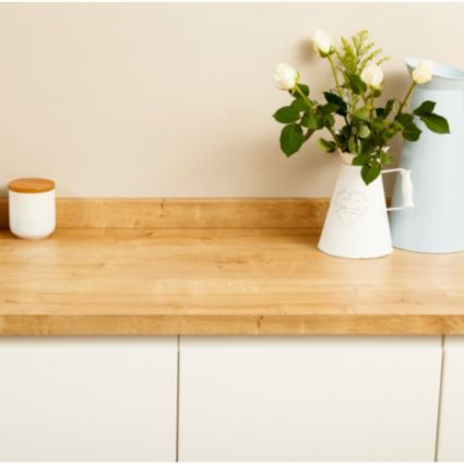 oak laminate worktop, white cupboards