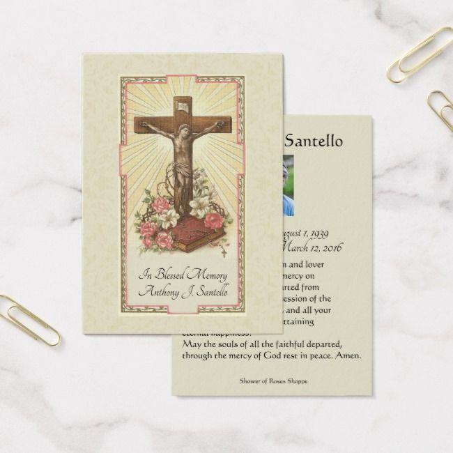 Catholic Funeral Memorial Prayer Holy Card Zazzle Com Catholic