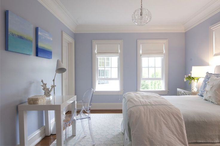 Nightingale Design: White and blue teen girls bedroom with blue walls and white roman shades covering ...