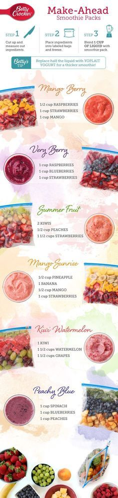 Simplify your morning routine by keeping a freezer full of smoothie packs on hand so you can wake, shake and be on your way!