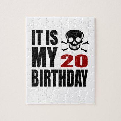 #It Is My 20 Birthday Designs Jigsaw Puzzle - #giftidea #gift #present #idea #number #twenty #twentieth #bday #birthday #20thbirthday #party #anniversary #20th