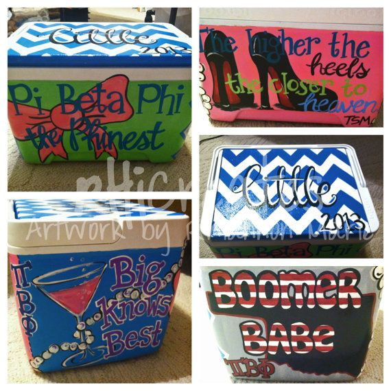 BIG/Little Sorority painted cooler by RhiCreates on Etsy.