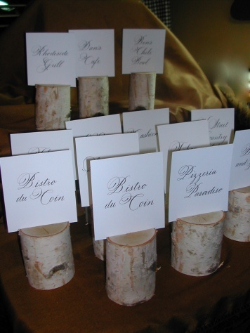 love these birch wedding table signs