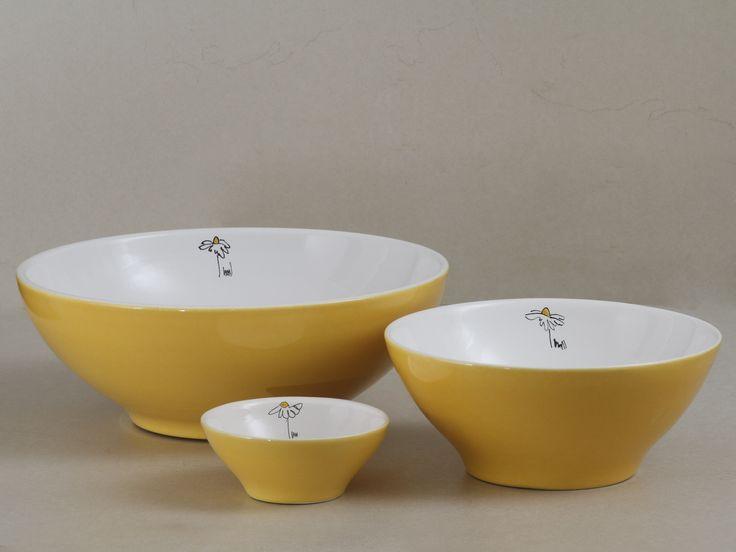 Bowls amarillos con deco Margariga 3 medidas